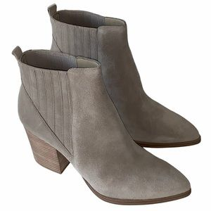 MARC FISHER Alva Pointy Toe Gray Suede Bootie New